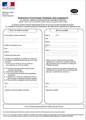 certificat aptitude permis bateau bordeaux