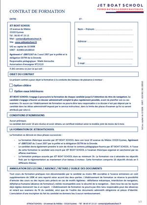 contrat permis bateau bordeaux